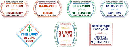 Passport stamps. A collection of stylised African and island passport stamps on a white background royalty free illustration