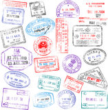Passport Stamps. A collection of highly detailed passport stamps, all inspired from real passport stamps, but completely created using Illustrator CS3 Royalty Free Stock Images