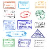 Passport stamps. On white background stock illustration