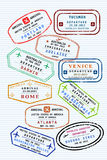 Passport stamps. Various colorful visa stamps (not real) on a passport page. International business travel concept. Frequent flyer visas Stock Photography