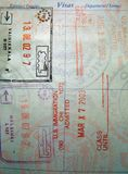 Passport Stamps. Various passport stamps royalty free stock images