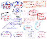 Passport stamps. From around the world on white royalty free illustration