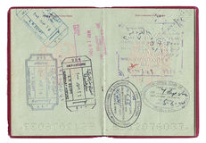 Passport stamps. Passport imigration stamps from different countries stock photography