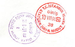 Passport stamps from the airport in Istanbul , Tur Stock Image