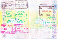 Passport with stamps of Azerbaijan, Georgia, Armenia, Albania Royalty Free Stock Photo