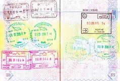 Passport with stamps of Azerbaijan, Georgia, Armenia, Albania Royalty Free Stock Photo