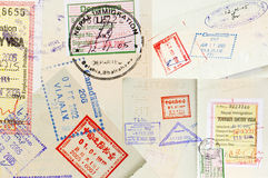 Passport Stamps Background. With various countries Stock Photos
