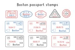 Passport stamps. Boston, USA. Arrival and departure by car, train, plane. Set of colored stamps. Vector illustration isolated on white background Stock Photography
