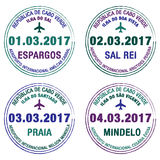 Passport stamps Cape Verde Stock Photo