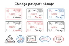 Passport stamps. Chicago, USA. Arrival and departure by car, train, plane. Set of colored stamps. Vector illustration isolated on white background Stock Photo