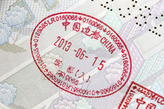Passport stamps closeup Royalty Free Stock Image
