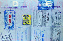 Passport Stamps Closeup Royalty Free Stock Photography