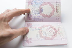 Passport with stamps from different countries Stock Photography