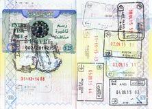 Passport stamps of Egypt, Greece, Bulgaria, France, Italy, Romania, Croatia, Bosnia and Herzegovina Royalty Free Stock Photos