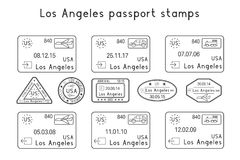 Passport stamps. Los Angeles, USA. Arrival and departure by car, train, plane. Set of black stamps. Vector illustration isolated on white background Stock Photo