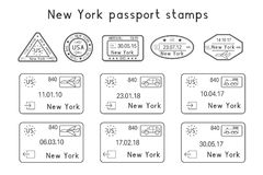 Passport stamps. New York, USA. Arrival and departure by car, train, plane. Set of black and white stamps. Vector illustration isolated on white background Stock Photo