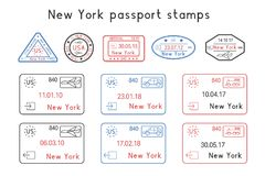 Passport stamps. New York, USA. Arrival and departure by car, train, plane. Set of colored stamps royalty free illustration