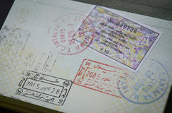 Passport stamps. Passport page of Lithuanian passport filled up with stamps and Turkish visa Stock Photography