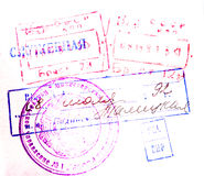 Passport stamps. Photo background. Stamps on arrival and depature stock photos