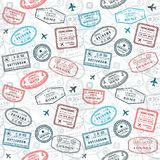 Passport stamps texture. Seamless passport stamps vector background - travel stamp pattern (fictitious stamps royalty free illustration