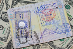 Passport with stamps with us dollar. Concept of travel stock images
