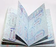 Passport Stamps. USA passport with stamps of admission Royalty Free Stock Images