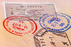 Passport with stamps and visa Royalty Free Stock Image