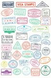 Passport stamps or visa pages for traveling abroad Royalty Free Stock Photo
