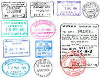 Passport stamps and visa's. Passport visa's and stamps from Australia, Japan, Greece, Colombia, and Malta