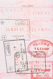 Passport stamps visas. Passport stamps  visas page full of various countries visa Royalty Free Stock Photography