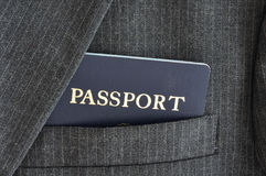 Passport in Suit Coat Pocket Royalty Free Stock Photos