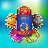 Passport and suitcases Stock Photography