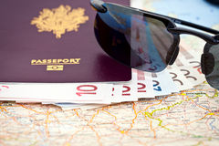 Passport Sunglasses Euros Map Royalty Free Stock Image
