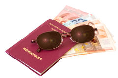 Passport with sunglasses and money Royalty Free Stock Image