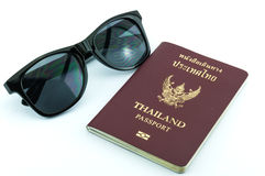 Passport & sunglasses Stock Photos