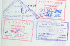 Passport. With thai and lao stamps Stock Image