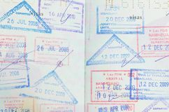 Passport. With thai and lao stamps Stock Photos