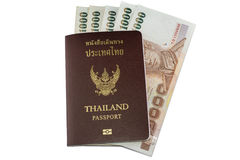 Passport and Thai money Royalty Free Stock Images