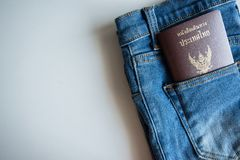 Passport Thailand in blue jeans pocket,Close up stock image