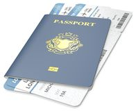 Passport and ticket. Royalty Free Stock Photography