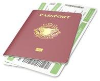 Passport and ticket. Stock Photos