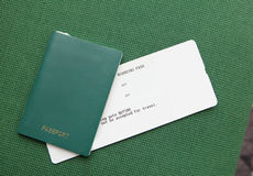 Passport and ticket (empty copy space) Stock Images