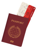 Passport and ticket Stock Image