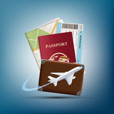 Passport with ticket and map. Plane flies round suitcase. Travel Royalty Free Stock Images