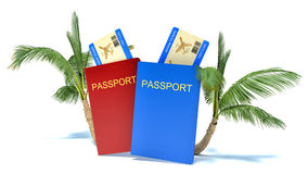 Passport with ticket and palm tree Stock Photo