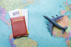 Passport with tickets on map. Stock Photography
