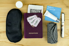 Passport, Tickets and Other Travel Items on Desk Royalty Free Stock Photo