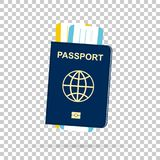 Passport with tickets. On chess back. Vector stock illustration
