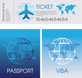 Passport, tickets and visa. Illustration of a set of generic airplane tickets, passport and visa documents royalty free illustration