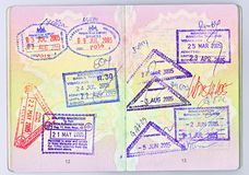 Passport to Asia. A high-res scan of two pages of a British passport with visas for different Asian countries Stock Photos